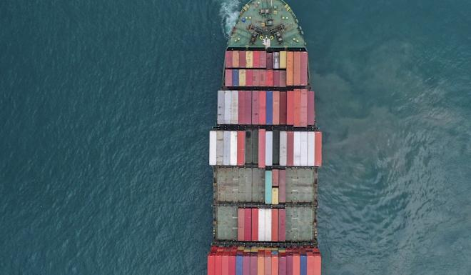 A cargo ship carrying at the Hong Kong Container Terminal. Photo: Roy Issa