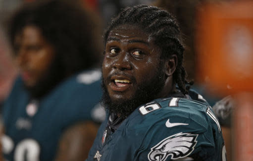 Philadelphia Eagles offensive guard Chance Warmack watches during the second half of an NFL preseason football game against the Cleveland Browns, Thursday, Aug. 23, 2018, in Cleveland. (AP Photo/Ron Schwane)
