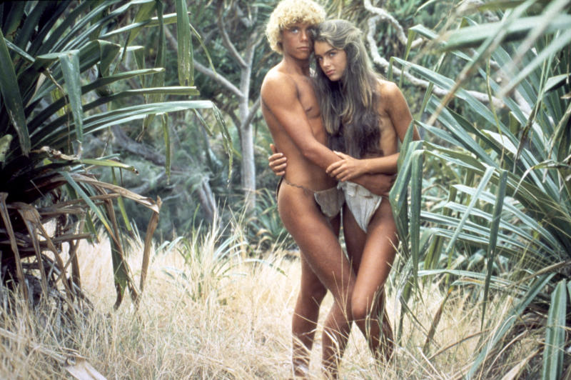 American actors Christopher Atkins and Brooke Shields on the set of The Blue Lagoon, based on the novel by Henry De Vere Stacpoole, and directed by Randal Kleiser. (Photo by Columbia Pictures/Sunset Boulevard/Corbis via Getty Images)