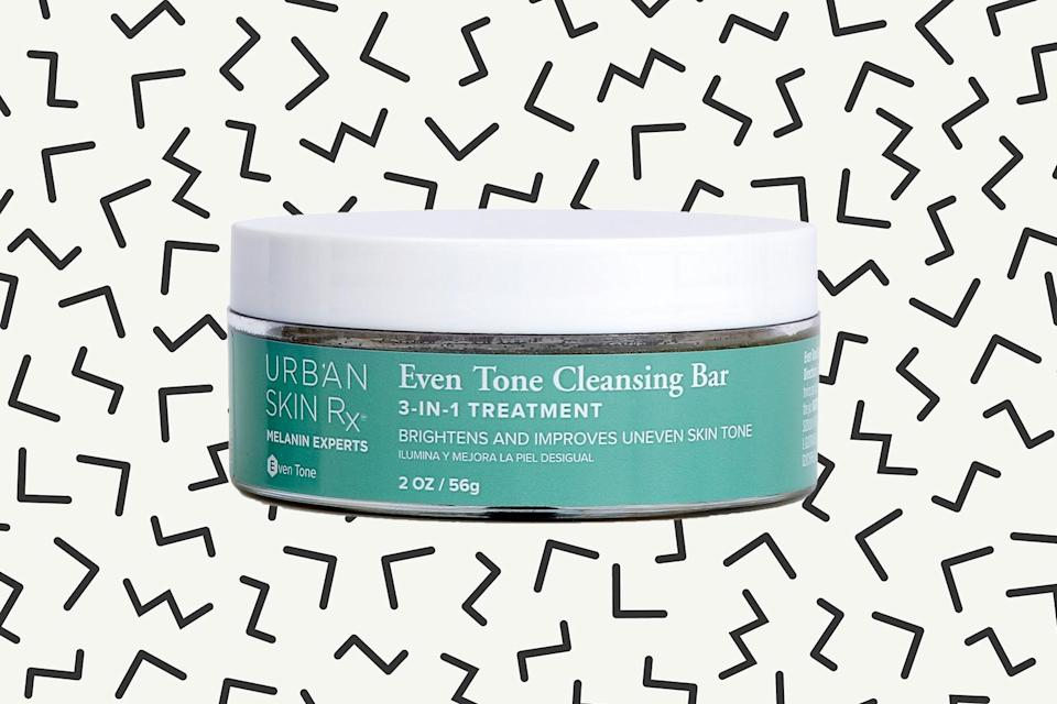 Urban Skin Rx Even Tone Cleansing Bar 3-in-1 Treatment. (Photos: Urban Skin Rx; Getty Images; Art: Casey Hollister for Yahoo Lifestyle)