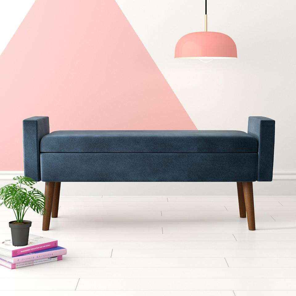 <p>You can't go wrong with the <span>Hashtag Home Mosier Upholstered Flip top Storage Bench</span> ($189).</p>