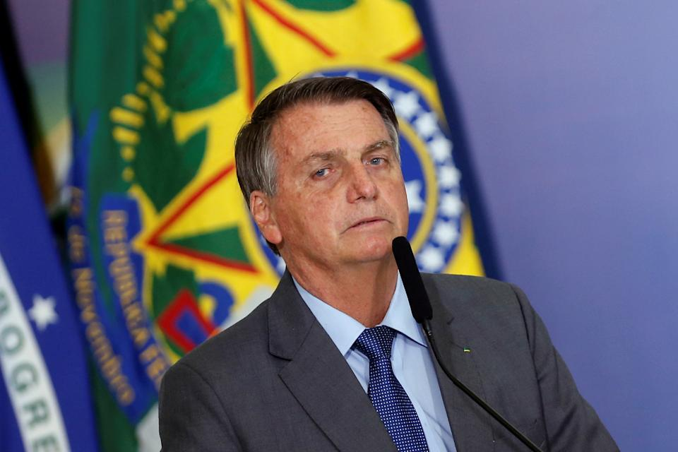 Brazil's President Jair Bolsonaro talks during a ceremony of signing a decree establishing the Public Integrity System of the Federal government at the Planalto Palace in Brasilia, Brazil July 27, 2021. REUTERS/Adriano Machado