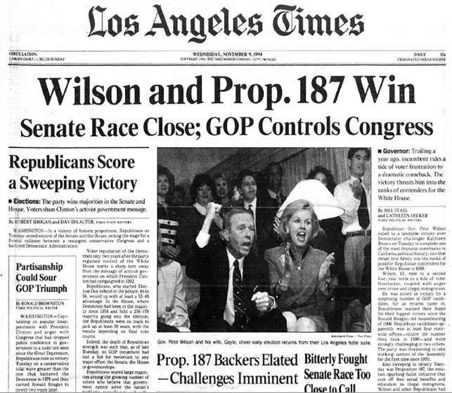 Nov. 9, 1994 front page of Los Angeles Times