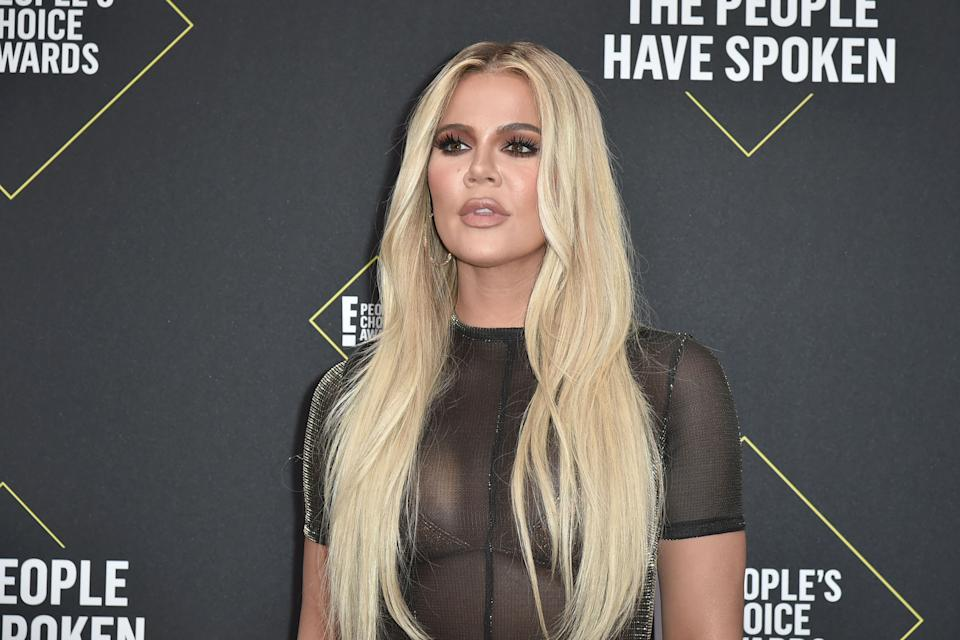 Khloe Kardashian attends 2019 E! People's Choice Awards - Arrivals at The Barker Hanger on November 10, 2019 in Santa Monica, California.  (Photo by David Crotty/Patrick McMullan via Getty Images)