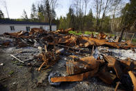 The remains of a home that burned down during the Echo Mountain fire are seen in Otis, Ore., on Thursday, May. 13, 2020. The small Oregon coast town is still recovering from the devastating fire that destroyed 293 homes. Experts say the 2020 wildfire season in Oregon was a taste of what lies ahead as climate change makes blazes more likely and more destructive even in wetter, cooler climates like the Pacific Northwest. (AP Photo/Craig Mitchelldyer)