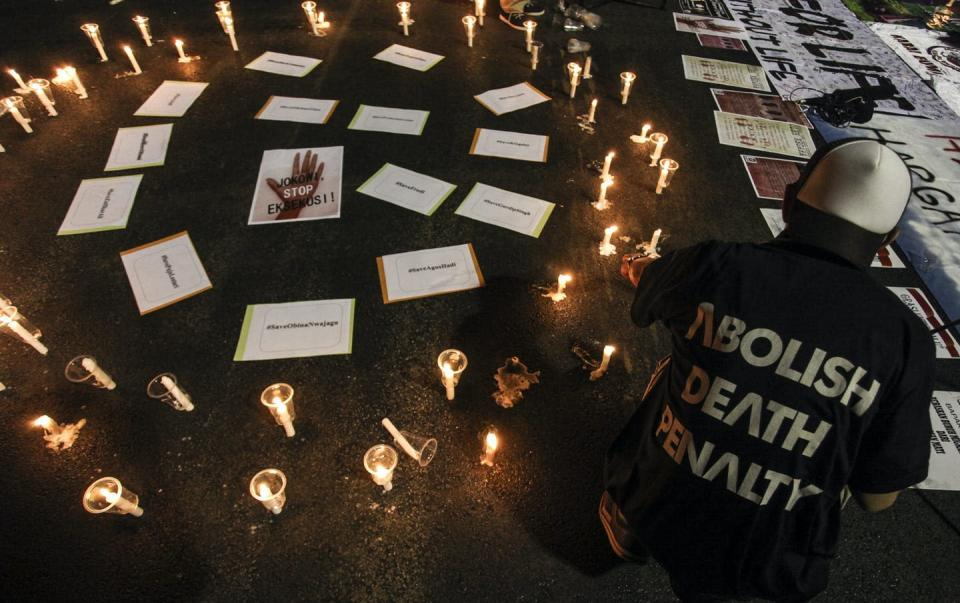 """<span class=""""caption"""">A vigil in protest against the death penalty in Jakarta, Indonesia, in 2016.</span> <span class=""""attribution""""><span class=""""source"""">Muhammad Adimaja/Antara Foto</span></span>"""