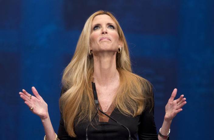 """<p> FILE - This Feb. 10, 2012 file photo shows conservative commentator Ann Coulter gesturing while speaking at the Conservative Political Action Conference (CPAC) in Washington. The Fox Nation web site has removed a column by conservative commentator Ann Coulter because it had a reference to killing the daughter of Sen. John McCain. Fox said Thursday, April 11, 2013, the column, posted Wednesday night, was deemed offensive. Coulter wrote that MSNBC's Martin Bashir suggested Republican senators need to have a member of their family killed before they would support stronger gun control legislation. She wrote: """"Let's start with Meghan McCain!"""" (AP Photo/J. Scott Applewhite, file)</p>"""