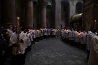 Christian worshipers attend Easter Sunday Mass amid eased COVID-19 restrictions in Jerusalem's Old City
