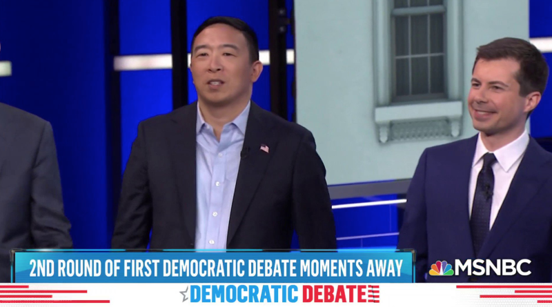 Andrew Yang raised eyebrows when he opted out of wearing a tie during the second night of the Democratic Debates on June 27. (Photo: MSNBC)