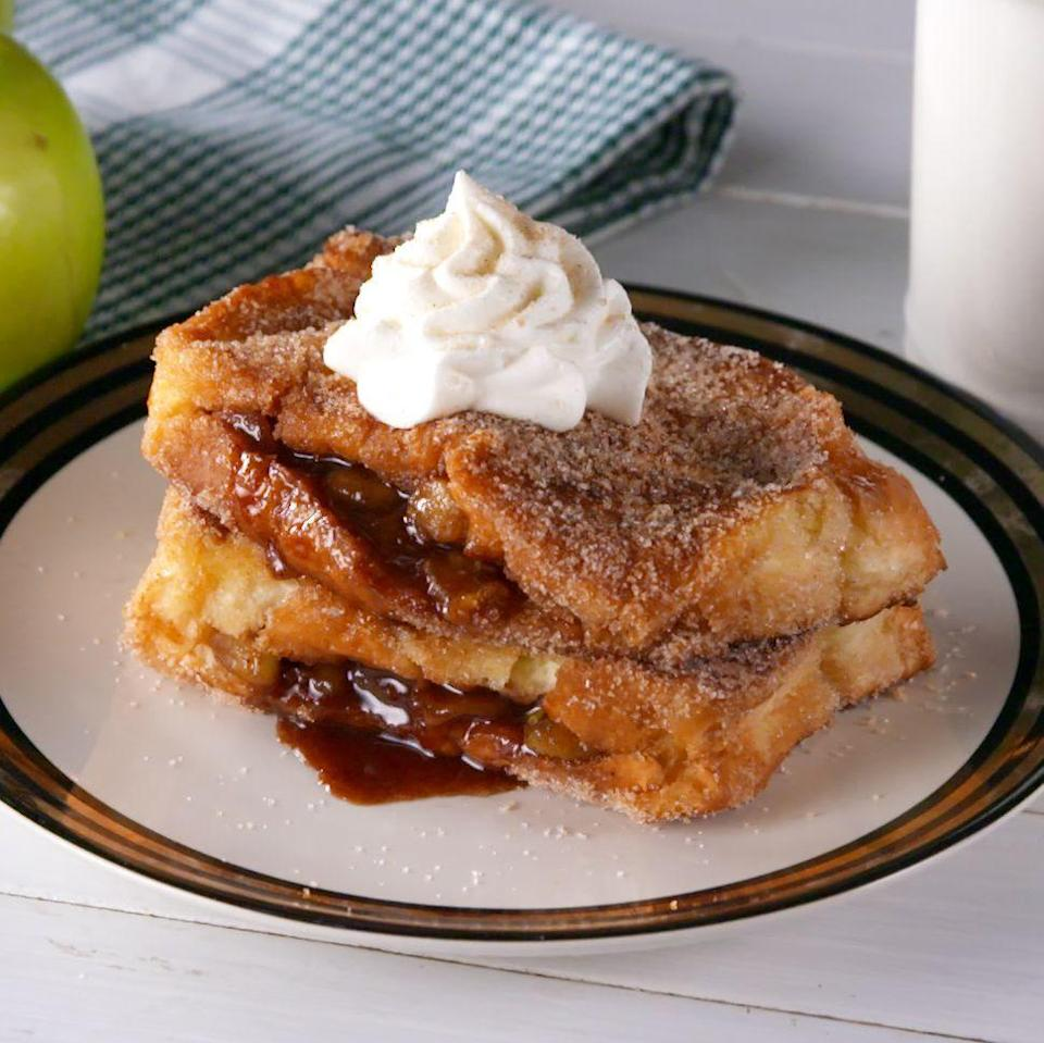"""<p><a href=""""https://www.delish.com/cooking/recipe-ideas/recipes/a55693/best-homemade-apple-pie-recipe-from-scratch/"""" rel=""""nofollow noopener"""" target=""""_blank"""" data-ylk=""""slk:Apple pie"""" class=""""link rapid-noclick-resp"""">Apple pie</a> for breakfast?! With this easy stuffed French toast, that dream can become a reality! We like it with a dollop of whipped cream, but if you're feeling extra, try it a la mode. </p><p>Get the <a href=""""https://www.delish.com/uk/cooking/recipes/a33214312/apple-pie-stuffed-french-toast-recipe/"""" rel=""""nofollow noopener"""" target=""""_blank"""" data-ylk=""""slk:Apple Pie Stuffed French Toast"""" class=""""link rapid-noclick-resp"""">Apple Pie Stuffed French Toast</a> recipe.</p>"""