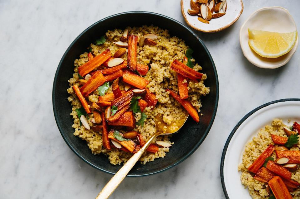 "A little cayenne heats up an easy weeknight dish. Adjust according to your preference. <a href=""https://www.bonappetit.com/recipe/millet-couscous-roasted-carrots?mbid=synd_yahoo_rss"" rel=""nofollow noopener"" target=""_blank"" data-ylk=""slk:See recipe."" class=""link rapid-noclick-resp"">See recipe.</a>"