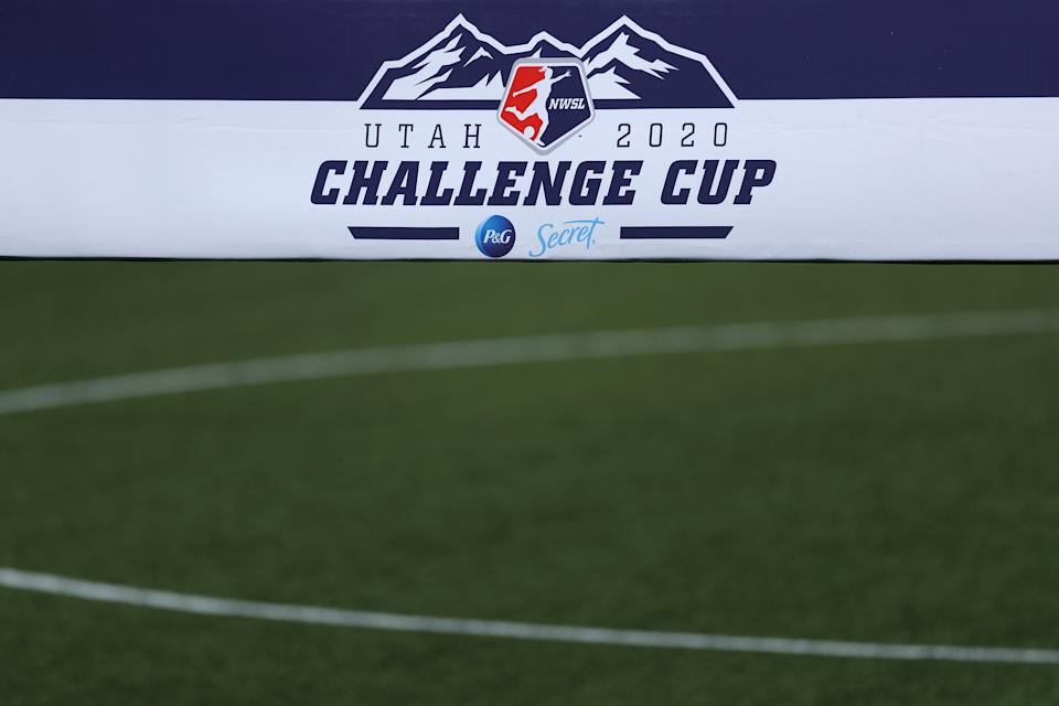 A detailed view of a 2020 NWSL Challenge Cup logo
