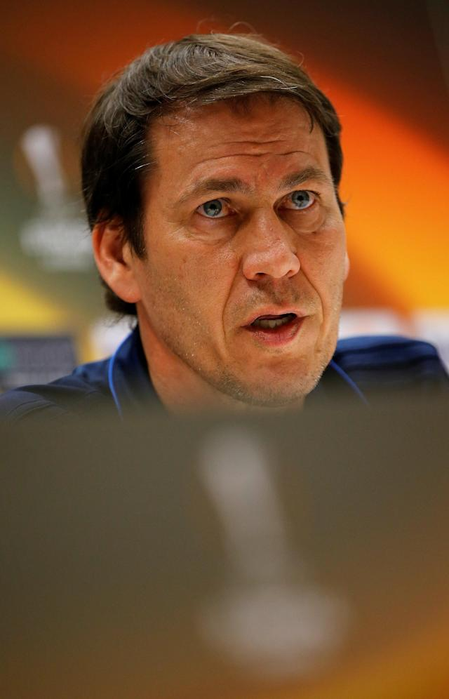 Soccer Football - Europa League - Olympique de Marseille Press Conference - Orange Velodrome, Marseille, France - April 25, 2018 Marseille coach Rudi Garcia during the press conference REUTERS/Jean-Paul Pelissier