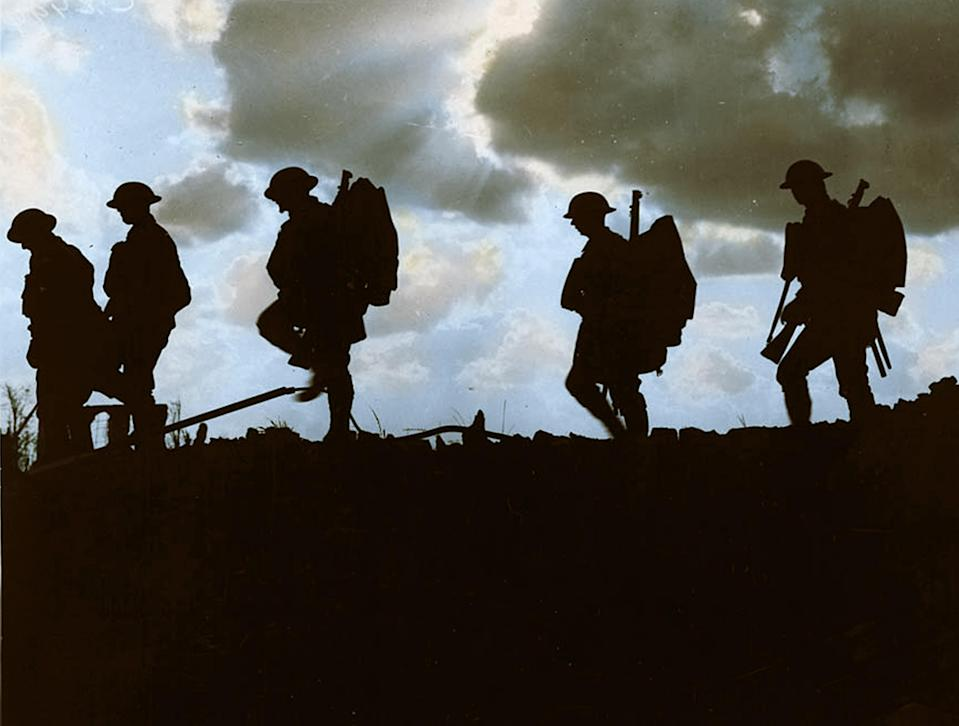 <p>Troops moving at Eventide. Men of a Yorkshire regiment on the march. (Tom Marshall/mediadrumworld.com) </p>