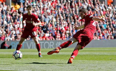 Soccer Football - Premier League - Liverpool vs Brighton & Hove Albion - Anfield, Liverpool, Britain - May 13, 2018 Liverpool's Andrew Robertson scores their fourth goal Action Images via Reuters/Carl Recine