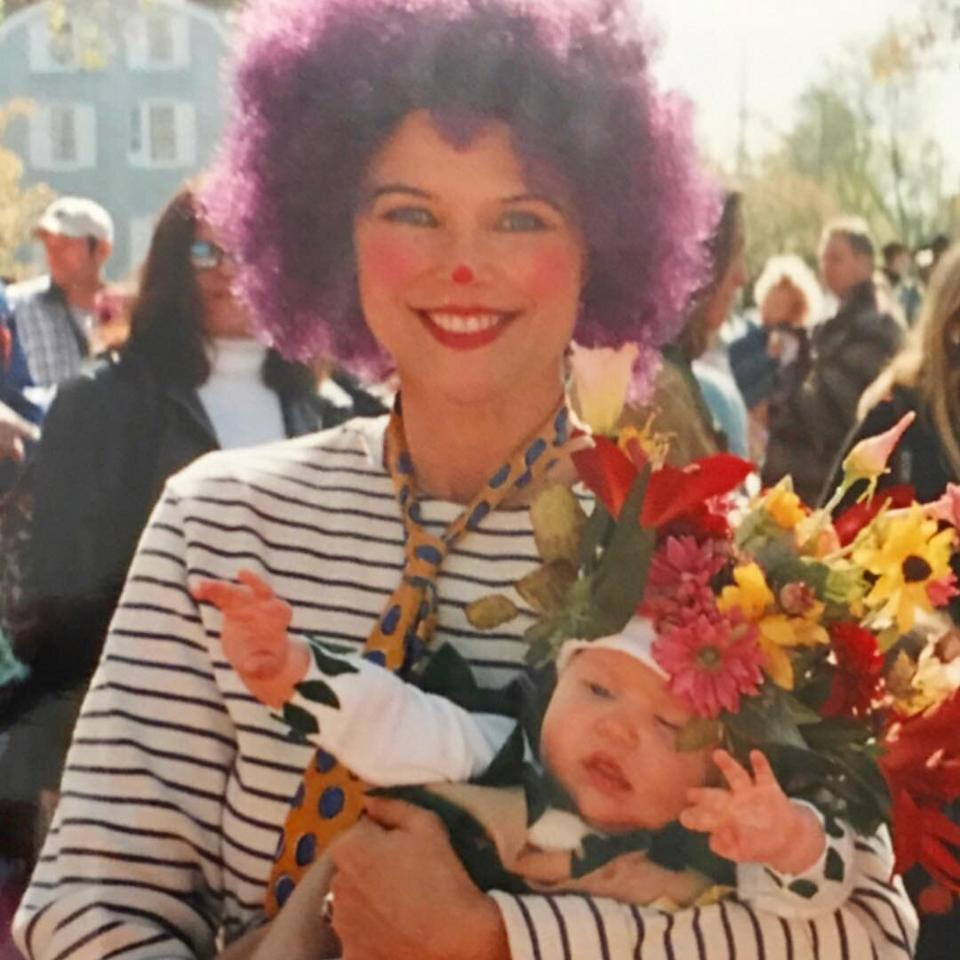 To celebrate Sailor's first Halloween, the mother-daughter duo got into the not-so-spooky spirit and dressed up as a clown and a bouquet of flowers.