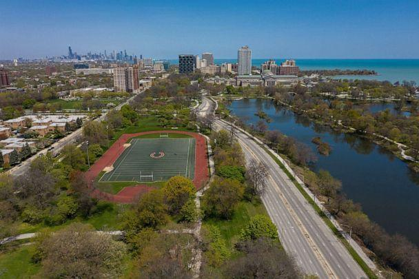 PHOTO: An aerial view shows the proposed site for the Obama Presidential Center in Chicago's Jackson Park, May 13, 2020.  (Zbigniew Bzdak/Chicago Tribune/Tribune News Service via Getty Images)