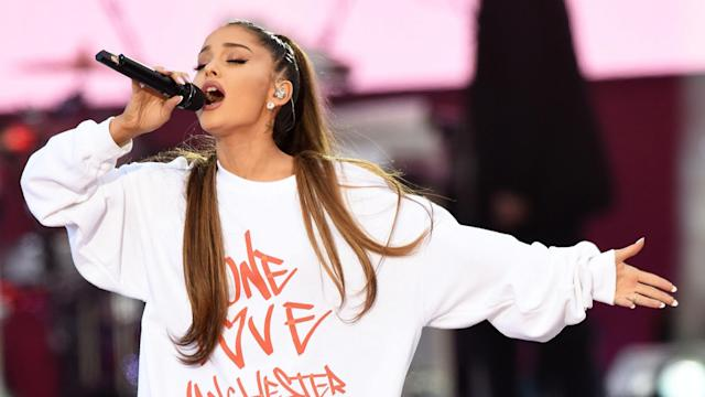 Ariana Grande performing during the One Love Manchester benefit concert (Handout photo issued by One Love Manchester)