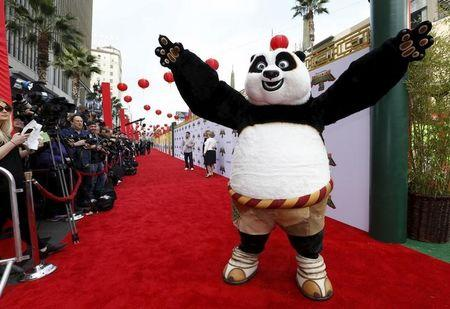 "The character of Po poses at the premiere of ""Kung Fu Panda 3"" at the TCL Chinese theatre in Hollywood"