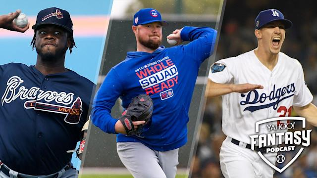 """<a class=""""link rapid-noclick-resp"""" href=""""/mlb/players/9855/"""" data-ylk=""""slk:Touki Toussaint"""">Touki Toussaint</a> of the Atlanta Braves (L), Jon Lester of the Chicago Cubs (C) and <a class=""""link rapid-noclick-resp"""" href=""""/mlb/players/10509/"""" data-ylk=""""slk:Walker Buehler"""">Walker Buehler</a> of the Los Angeles Dodgers (R) are starting pitchers to look out for this year on competitive squads but have large question marks surrounding their usage. (Getty Images)"""