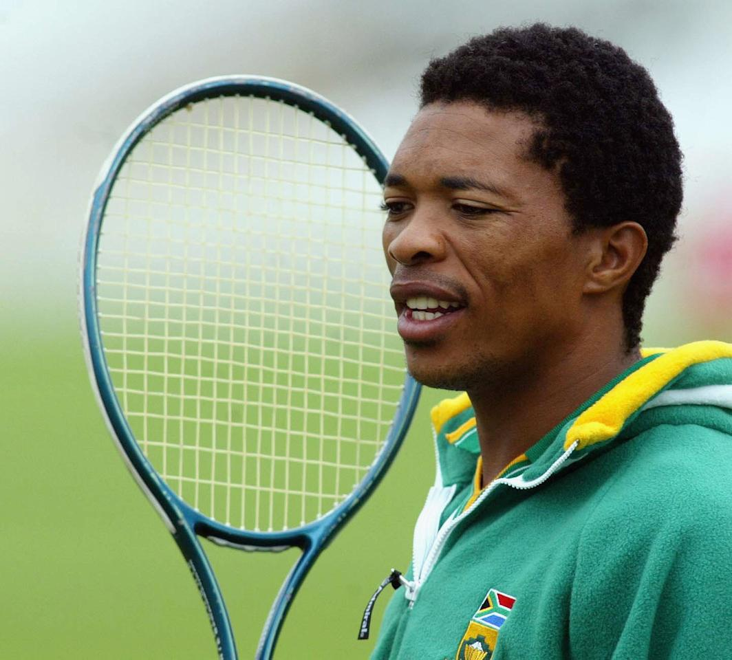 NOTTINGHAM, ENGLAND - AUGUST 12:  Makhaya Ntini of South Africa warms up before bowling in the nets during South Africa nets practice at Trent Bridge on August 12, 2003 in Nottingham, England.  South Africa are training for the third npower Test match against England starting on August 14, 2003. (Photo by Mike Finn-Kelcey/Getty Images)