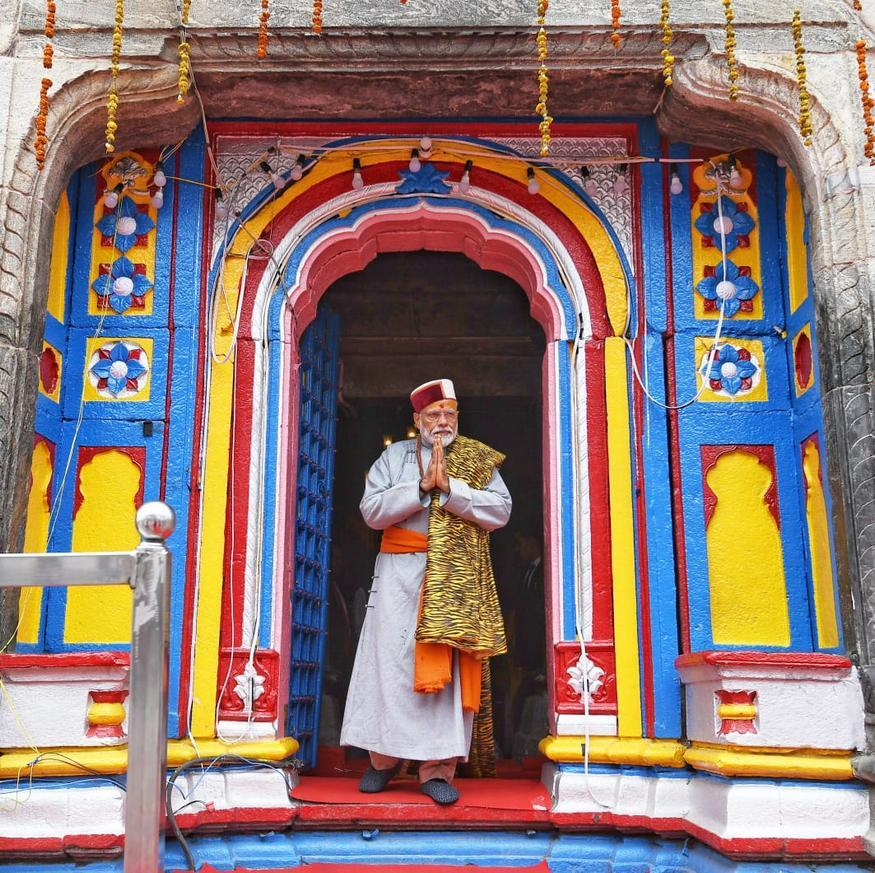 Prime Minister Narendra Modi after paying obeisance at Kedarnath Temple, during his two day pilgrimage to Himalayan shrines, in Rudraprayag district. (Image: PTI)