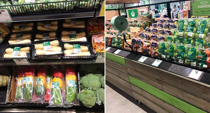 Fruit and vegetables are pictured wrapped in plastic on shelves in Woolworths.