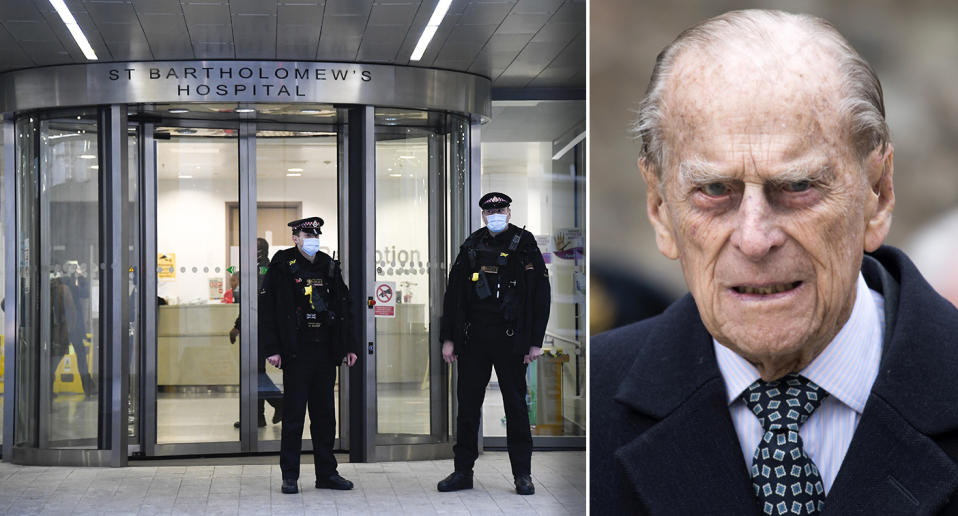 Police officers stand outside the main entrance of St Bartholomew's Hospital where Britain's Prince Philip is being treated, in London.
