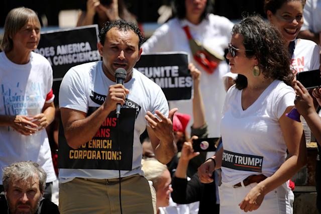 "<p>An undocumented immigrant from El Salvador who gave his name as Mario weeps as he tells the story of his daughter and wife being separated and detained at the border as they attempted to join him in the U.S. to demonstrators during a rally and march calling for ""an end to family detention"" and in opposition to the immigration policies of the Trump administration in Washington, D.C., June 28, 2018. (Photo: Jonathan Ernst/Reuters) </p>"