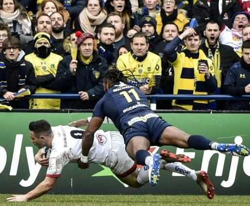 Scrum-half John Cooney scored the opening try in Ulster's 29-13 defeat at Clermont