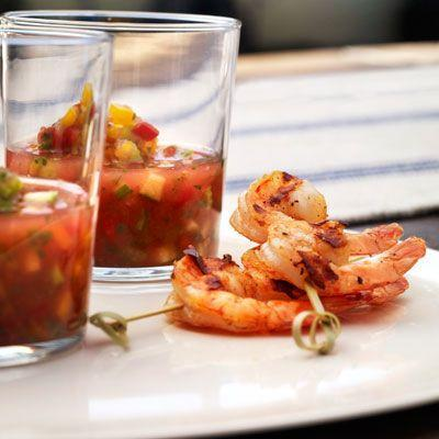 """<p>Spicy grilled shrimp pair perfectly with a fresh, fruity, and summery chilled gazpacho. No melon? No problem. Our <a href=""""https://www.delish.com/cooking/recipe-ideas/a27794655/easy-gazpacho-soup-recipe/"""" rel=""""nofollow noopener"""" target=""""_blank"""" data-ylk=""""slk:classic gazpacho"""" class=""""link rapid-noclick-resp"""">classic gazpacho </a>works just as well.<br></p><p>Get the recipe from <a href=""""https://www.delish.com/cooking/recipe-ideas/recipes/a16564/melon-gazpacho-shooters-shrimp-recipe-opr0711/"""" rel=""""nofollow noopener"""" target=""""_blank"""" data-ylk=""""slk:Delish"""" class=""""link rapid-noclick-resp"""">Delish</a>.</p>"""