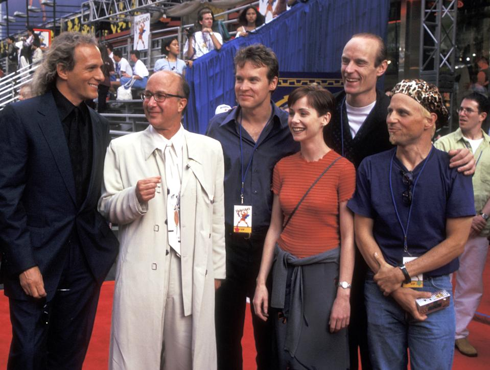 Michael Bolton, Paul Shaffer, Tate Donovan, Susan Egan, Matt Frewer and Bobcat Goldthwait (Photo by Ron Galella/Ron Galella Collection via Getty Images)