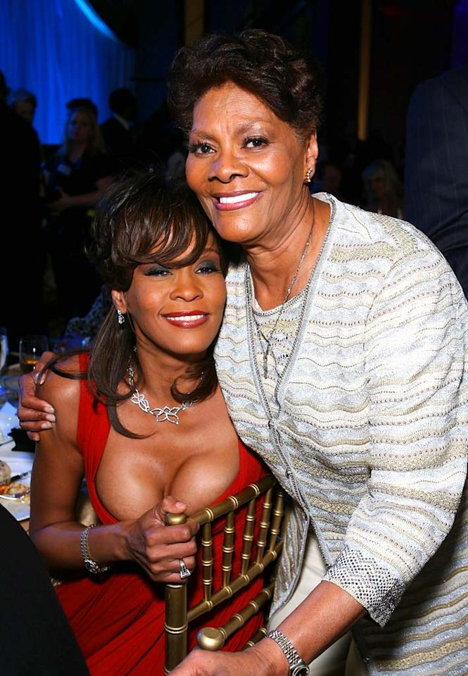 """It's a family reunion for cousins Whitney Houston and Dionne Warwick. We don't need the Psychic Friends Network to predict that Whitney's new album will be a major hit later this year! Jordan Strauss/<a href=""""http://www.wireimage.com"""" target=""""new"""">WireImage.com</a> - April 5, 2008"""
