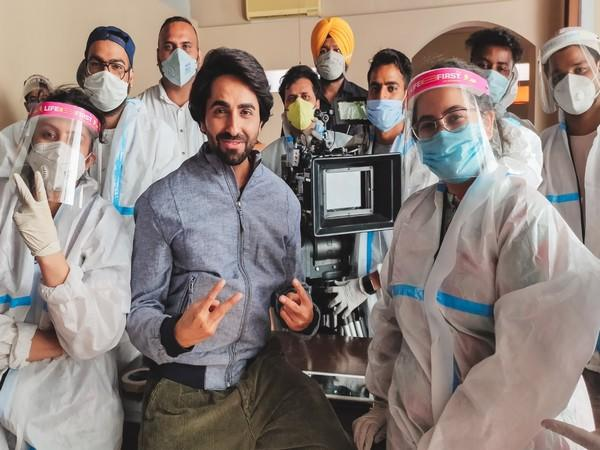 Actor Ayushmann Khurrana from the sets of a shoot