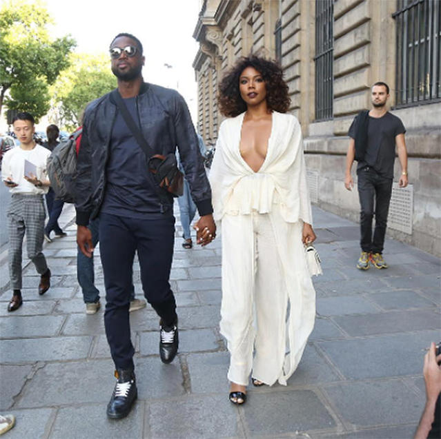 "<p>All eyes were on them — more likely on just the <em>Being Mary Jane</em> star — as they arrived at the Berluti show. (Photo: <a href=""https://www.instagram.com/p/BVuppKhgwlm/?hl=en"" rel=""nofollow noopener"" target=""_blank"" data-ylk=""slk:Gabrielle Union via Instagram"" class=""link rapid-noclick-resp"">Gabrielle Union via Instagram</a>) </p>"