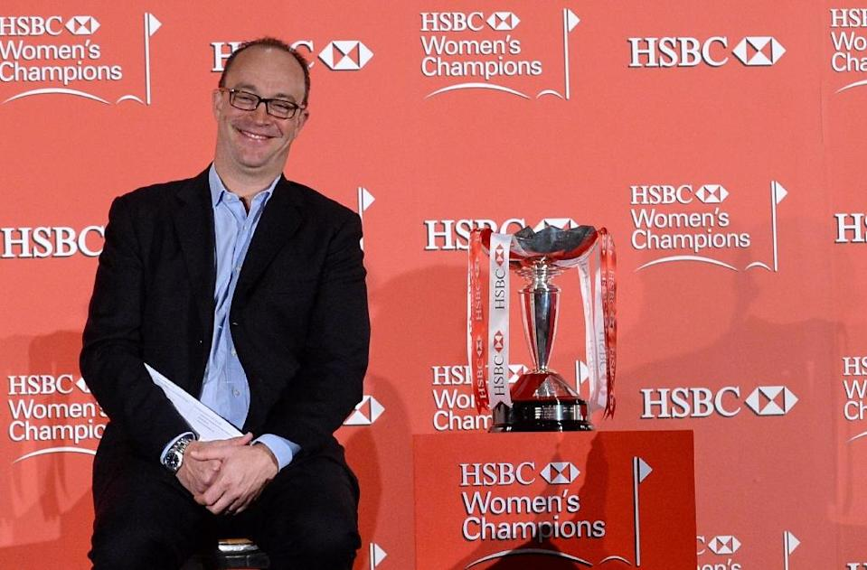 HSBC global head of sponsorship Giles Morgan at a press conference for the 2014 HSBC Women's Champions event in Singapore on February 25, 2014 (AFP Photo/Roslan Rahman)