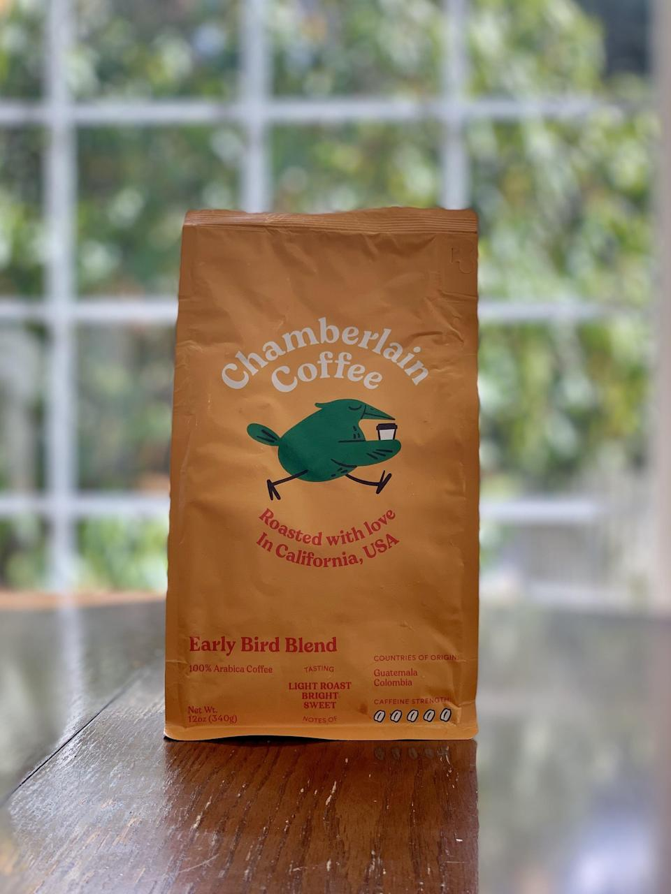 "<p><strong>Basic info:</strong> Light roast described as ""bright"" and ""sweet.""</p> <p>Light roast is not my thing, but if you like tart and tangy coffee, you should by all means give the <a href=""https://chamberlaincoffee.com/products/early-bird-blend-whole-bean"" class=""link rapid-noclick-resp"" rel=""nofollow noopener"" target=""_blank"" data-ylk=""slk:Early Bird Blend"">Early Bird Blend</a> a go! Chamberlain Coffee describes a few of the notes as ""green apple and citrus,"" which is what stuck out to me the most. This one has the most caffeine, in case that's your primary concern!</p>"