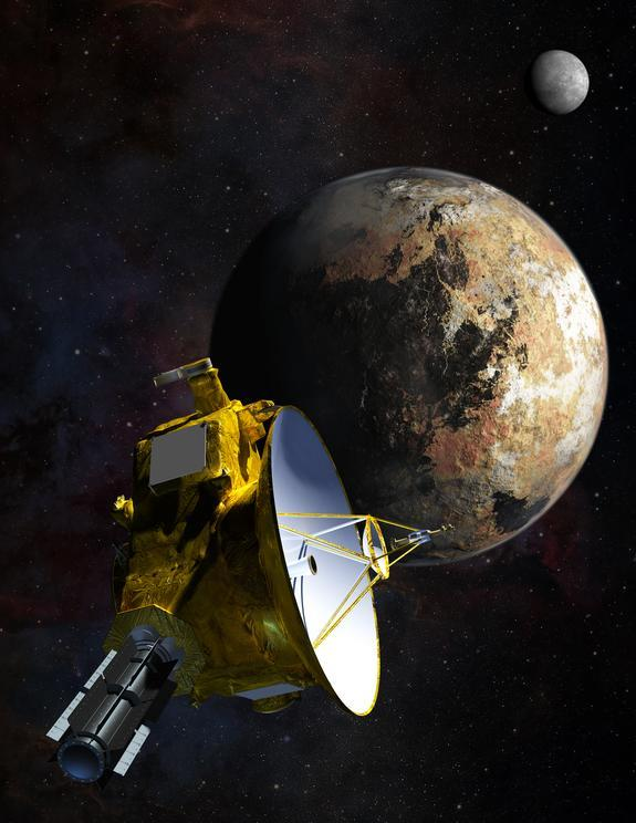 Artist's illustration of NASA's New Horizons spacecraft passing Pluto and Pluto's largest moon, Charon, on July 14, 2015.