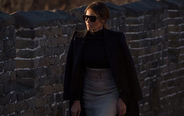 The FLOTUS looked stylish in a black top and jacket with a nude skirt. Source: Getty