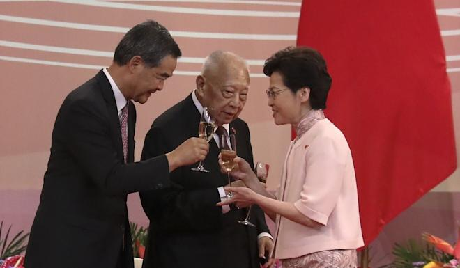 From left, former chief executives Leung Chun-ying and Tung Chee-hwa, with current leader Carrie Lam at an event marking Hong Kong's handover from Britain to China on July 1. Photo: K. Y. Cheng