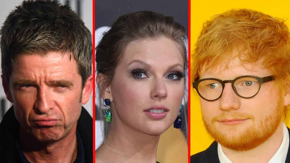 Noel Gallagher does not think much of Taylor Swift or Ed Sheeran's music. (Getty Images/AP/AP)