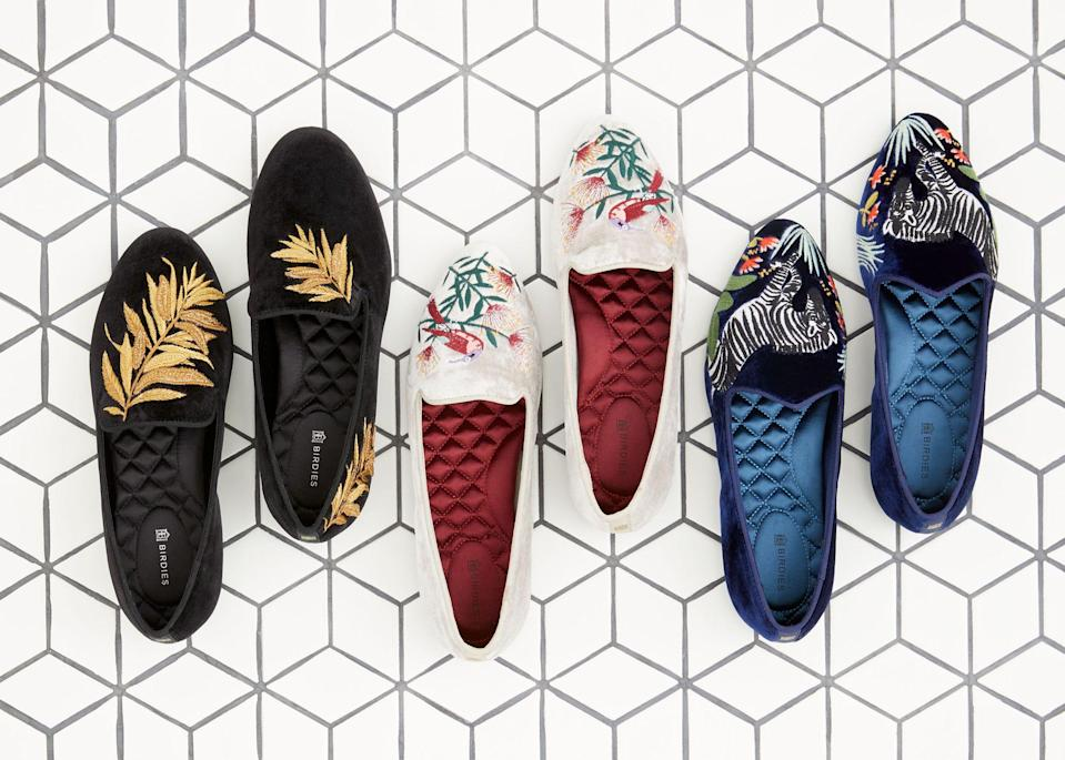 "<p>This holiday season, you may spend more time at home than usual, but that doesn't mean you have to settle for unexciting footwear. Birdies, the shoe brand <a href=""https://www.townandcountrymag.com/style/fashion-trends/a27128743/meghan-markle-birdies-slippers/"" rel=""nofollow noopener"" target=""_blank"" data-ylk=""slk:known for its famous fans including Meghan Markle, Duchess of Sussex"" class=""link rapid-noclick-resp"">known for its famous fans including Meghan Markle, Duchess of Sussex</a> as well as its super-comfortable cushioned insoles, just launched a new, limited-edition collaboration with stationery and design marketplace Minted, which features bold, nature-inspired imagery embroidered onto classic velvet flats. </p><p>""We've admired Minted for quite some time, not only for the endless inspiration and unique designs available from independent artists seen throughout the marketplace, but also for their mission to support these artisans in providing them a platform to connect with consumers throughout the world,"" Bianca Gates, the CEO and co-founder of Birdies, told <em>T&C </em>via email. </p><p>""Working with a brand that is not only female-led and founded, but also strives to support the work of independent creators, in particular female artists, has been a rewarding experience, as it aligns with the Birdies mission of supporting and celebrating women who live with purpose."" </p><p>Read on to see the three limited-edition styles, coupled with commentary from each of the artists on their work. </p>"