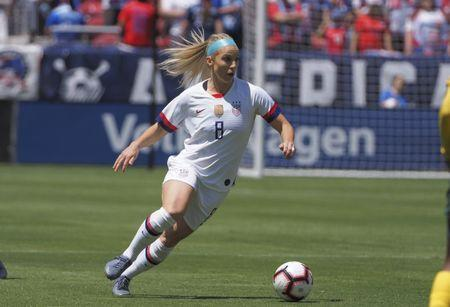 FILE PHOTO: May 12, 2019; Santa Clara, CA, USA; USA midfielder Julie Ertz (8) controls the ball against South Africa during the first half during a Countdown to the Cup Women's Soccer match at Levi's Stadium. Mandatory Credit: Kelley L Cox-USA TODAY Sports