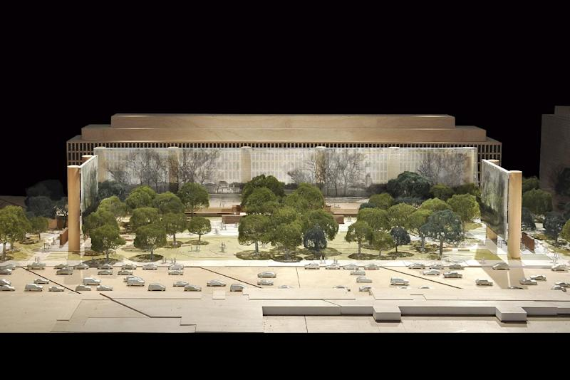 This artist rendering provided by the Eisenhower Commission on Oct. 6, 2011, shows a updated model for the national memorial in Washington for President Dwight D. Eisenhower. Architect Frank Gehry presented the update on his design Thursday to the National Capital Planning Commission.  (AP Photo/Eisenhower Commission)  NO SALES