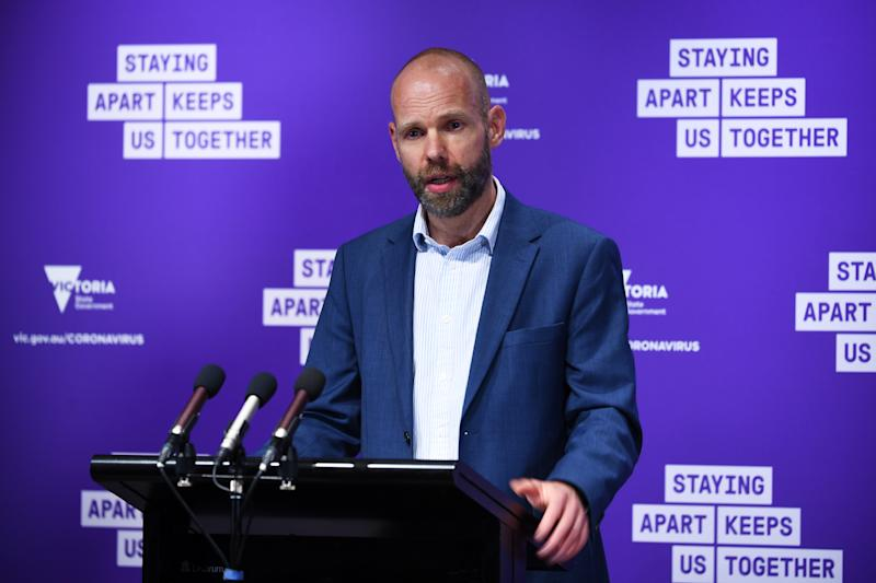 Deputy Secretary for Community Engagement and Testing at the Department of Health and Human Services Jeroen Weimar confirmed the positive cases in Shepparton. Source: AAP