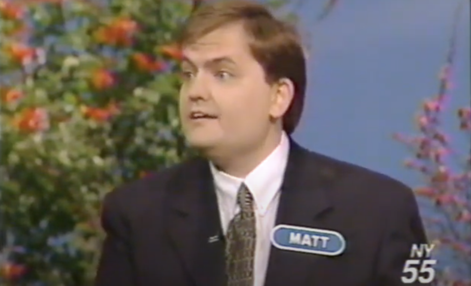 Matthew Fenwick speaks to Pat Sajak while appearing on Wheel of Fortune.