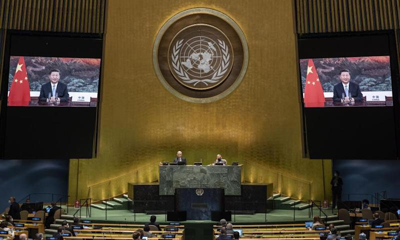 Xi Jinping on screen at the UN.