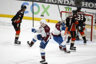 Colorado Avalanche forward Gabriel Landeskog (92) celebrates after scoring against the Anaheim Ducks in overtime of an NHL hockey game in Anaheim, Calif., Friday, Jan. 22, 2021. (AP Photo/Ringo H.W. Chiu)