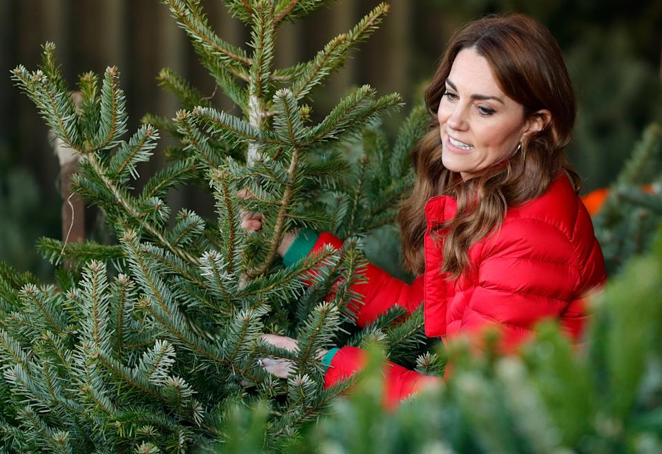 Catherine, Duchess of Cambridge helps children choose a Christmas tree as she joins families and children who are supported by the charity Family Action at Peterley Manor Farm on December 4, 2019 in Great Missenden, England. This is to mark HRH's new patronage of Family Action.