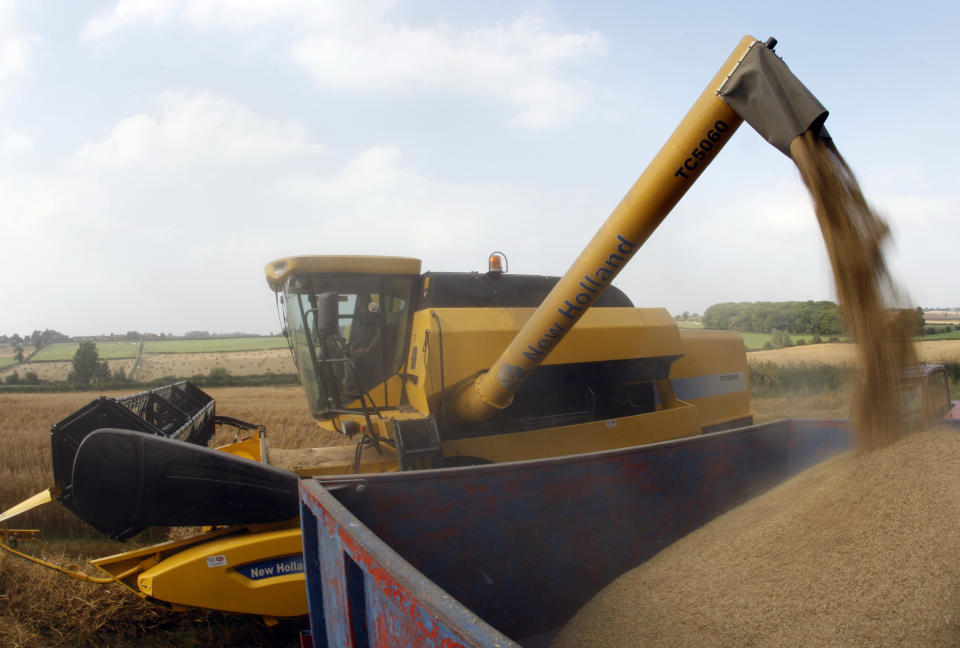 Farmer Pete Towle empties his combine harvester of oats in Walton on the Wolds, central England, August 30, 2008.   REUTERS/Darren Staples (BRITAIN)